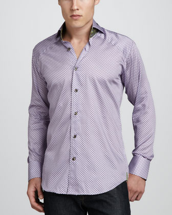 Peter Sateen Sport Shirt, Purple