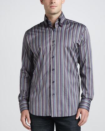 Yunus Jacquard Sport Shirt, Gray