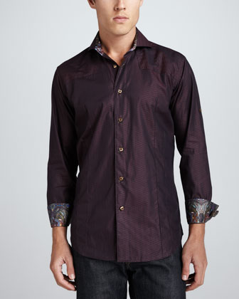 Kyle Jacquard Long-Sleeve Shirt, Burgundy