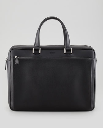 Saffiano Zip-Pocket Briefcase, Black