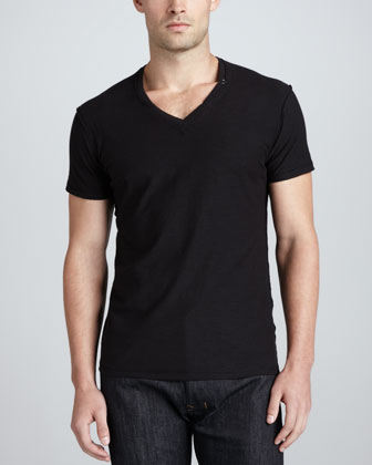 TOS V-Neck Slub Tee, Black
