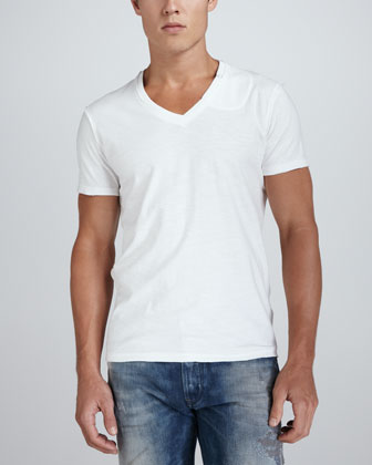 TOS V-Neck Slub Tee, White