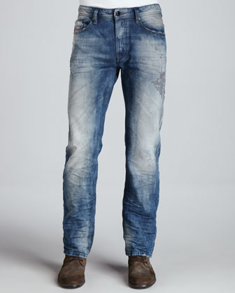 Waykee Straight-Leg Distressed Jeans, Medium Blue