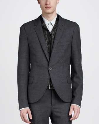 Micro-Check English Jacket, Gray