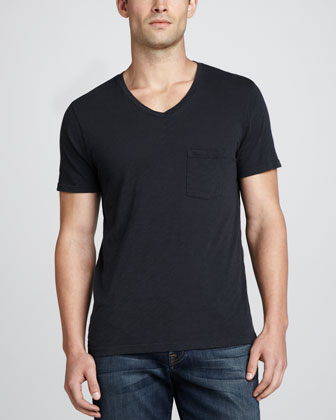 V-Neck Pocket Tee, Black