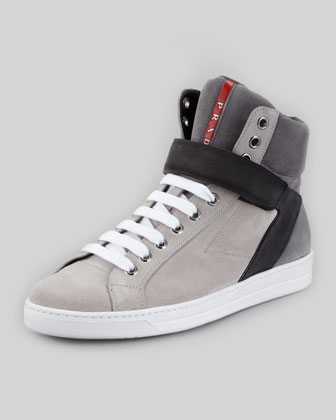 Avenue Suede High-Top Sneaker, Gray Multi