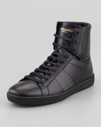 Leather Studded-Side High-Top Sneaker