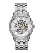 Meccanico Skeleton Watch, Silver Tone