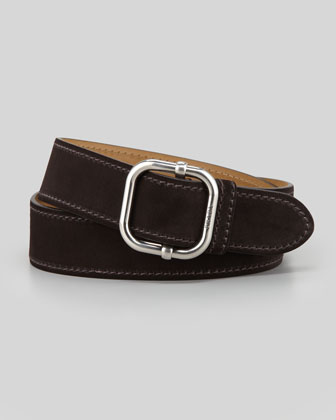 Suede Square-Buckle Belt, Dark Brown