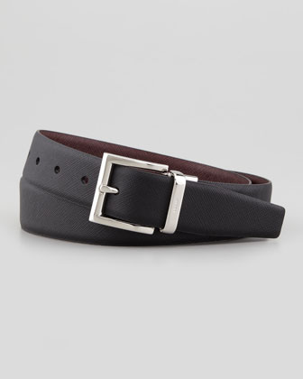 Reversible Saffiano Belt, Black/Red