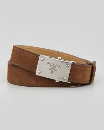 Suede Logo-Buckle Belt, Brown