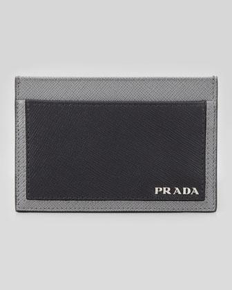 Saffiano Bicolor Card Case, Black/Gray