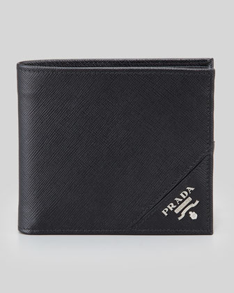 Saffiano Logo Hip-Fold Wallet, Black
