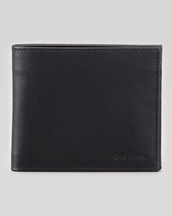 Saffiano Bi-Fold Wallet, Black