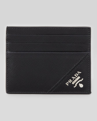 Saffiano Leather Card Case, Black