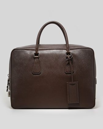Saffiano Zip-Top Lock Briefcase, Brown