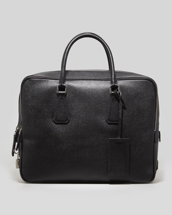 Saffiano Double-Zip Briefcase, Black
