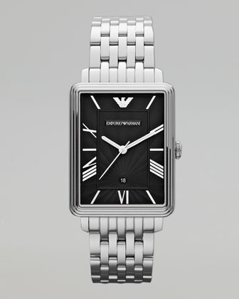 Rectangular Stainless-Steel Watch, Silver