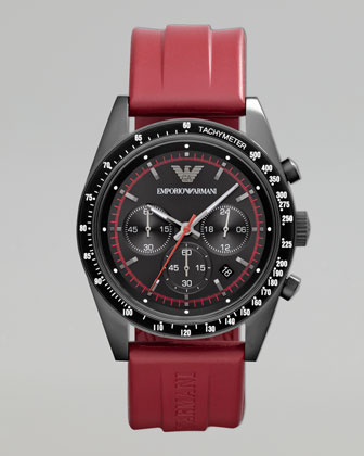 Sportivo Tachymeter Watch, Red Strap