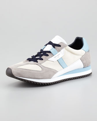 Suede & Mesh Low-Profile Lace-Up Sneaker, Light Blue/Gray