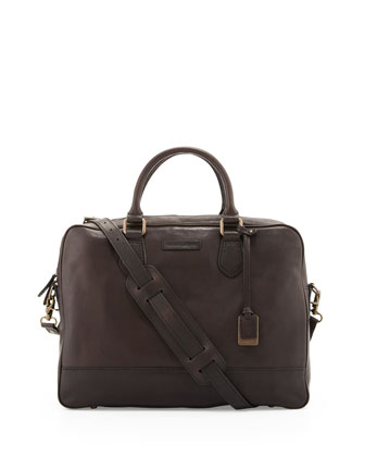James Slim Leather Briefcase, Dark Brown
