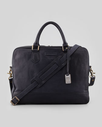 James Slim Leather Briefcase, Navy