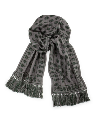 Men's Wool Reverse-Skull Scarf, Gray/Green