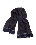 Men's Wool Reverse-Skull Scarf, Gray/Blue