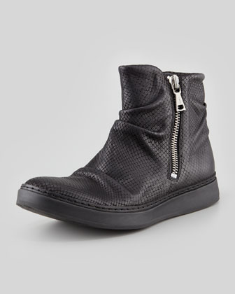 Print Leather High-Top, Black