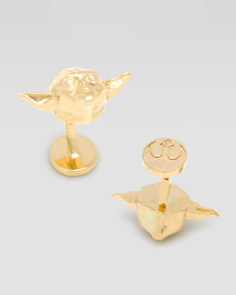 Gold Darth Vader and Yoda Cufflinks