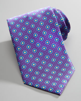 Floral Medallion-Print Silk Tie, Purple