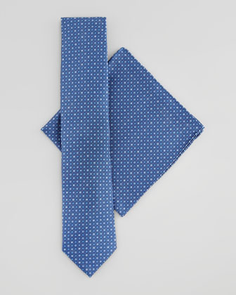 Micro Squares Silk Tie & Pocket Square Set, Blue