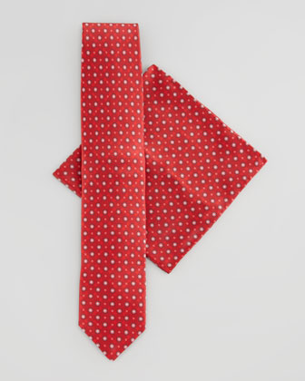 Medallion Silk Tie & Pocket Square Set, Red