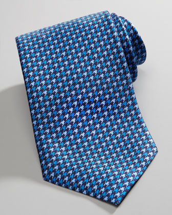Houndstooth Silk Tie, Blue