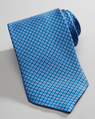 Geometric Flowers Silk Tie, Blue