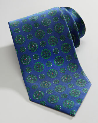 Medallion Silk Tie, Blue/Green