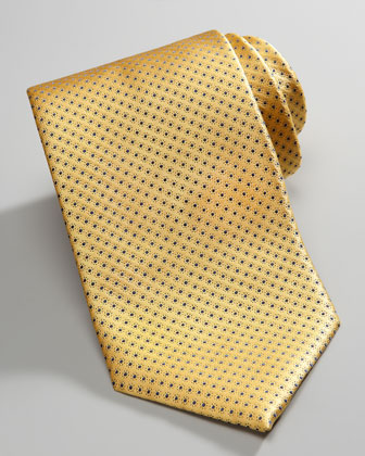 Micro-Dot Neat Silk Tie, Yellow