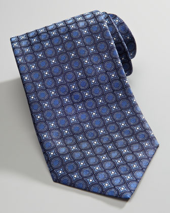 Circle-Print Silk Tie, Blue