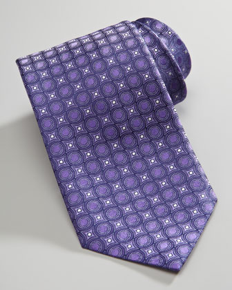 Circle-Print Silk Tie, Purple