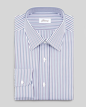 Multicolored Striped Dress Shirt, Blue/White/Maroon