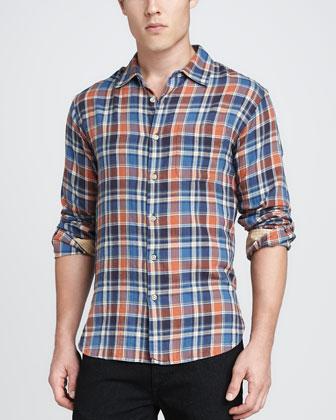 Plaid Beach Shirt, Orange
