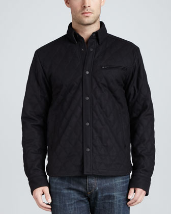 Holme Quilted Shirt Jacket, Navy