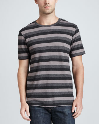 Triple-Stripe Heather-Knit Tee, Gray