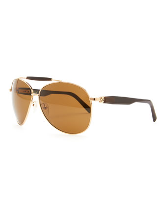 Horn & Metal Aviator Sunglasses, Golden
