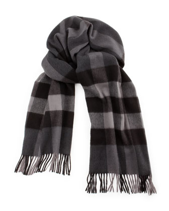 Men's Cashmere Mega Check Scarf, Charcoal