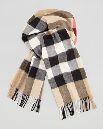 Men's Giant-Check Cashmere Scarf, Camel