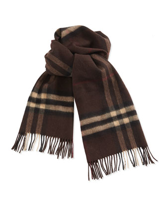 Men's Giant-Check Cashmere Scarf, Chestnut