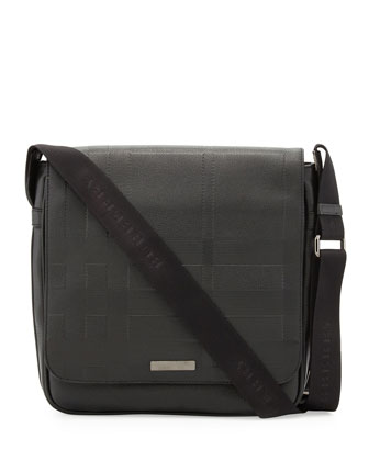 Men's Check-Embossed Leather Messenger Bag, Black