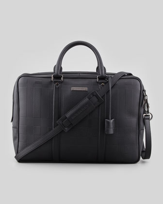 Check-Embossed Leather Briefcase, Black