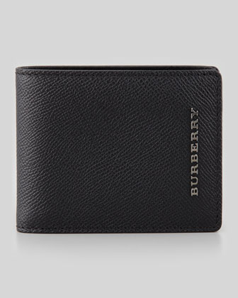 Pebbled Leather Hip-Fold Wallet, Black
